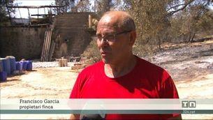 Devastació de l'incendi a Flix: un propietari es troba el mas tot cremat