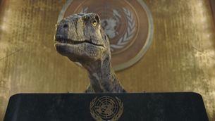 El dinosaure parlant des del faristol de l'Assemblea General de l'ONU