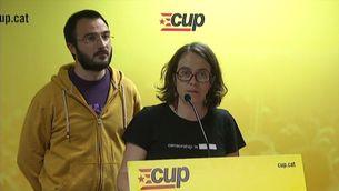 Botran i Reguant, durant la roda de premsa en què van anunciar que la CUP mantenia l'esmena a la totalitat