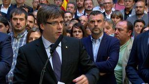 Puigdemon en l'acte amb els alcaldes al Palau de la Generalitat