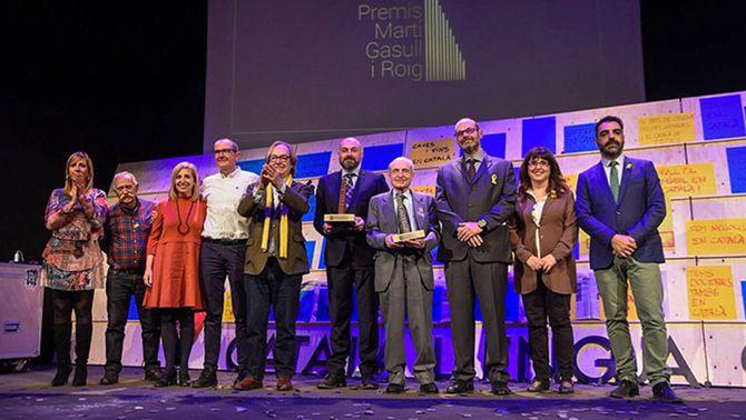Els guardonats als premis Martí Gasull que concedeix la Plataforma per la Llengua