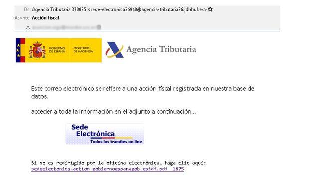 Alerten d'un fals correu d'Hisenda amb un virus coincidint amb la campanya de la renda
