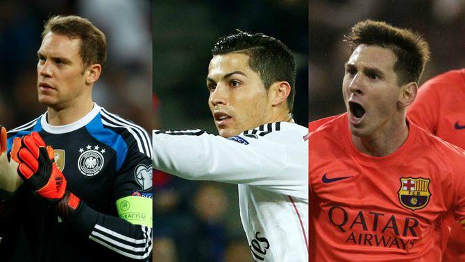 Messi, Cristiano Ronaldo i Neuer són els tres nominats a la Pilota d'Or