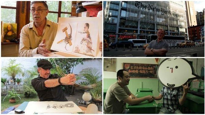 """Alguns dels dibuixants que participen a """"Caricaturistes, els soldats de peu de la democràcia"""""""
