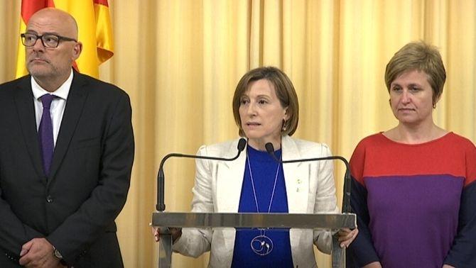 Roda de premsa de Carme Forcadell i Anna Simó