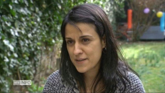 L'exdiputada de la CUP Anna Gabriel en l'entrevista amb la radiotelevisió pública suïssa