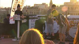 Homes Llúdriga i iCat, rapejant a la festa d'estiu de Catalunya Ràdio