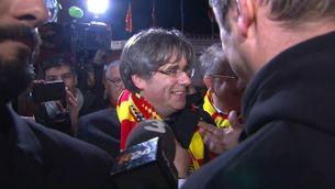 L'arribada de Puigdemont a l'estadi de la USAP