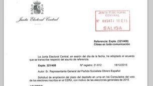 La JEC amplia fins diumenge el termini de vot a l'estranger