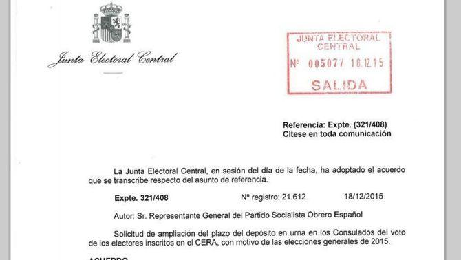 La JEC amplia de manera excepcional el termini de vot a l'estranger