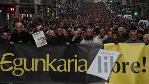 Manifestació a favor d'Egunkaria