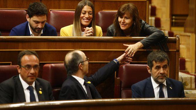 Josep Rull, Jordi Turull i Jordi Sànchez, al Congrés després de ser escollits diputats en les eleccions de l'abril de 2019
