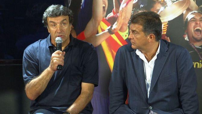 Joan Laporta confia el seu projecte del futbol base a Alexanko