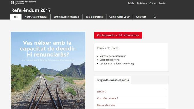 La web del referèndum utilitza la plataforma ipfs
