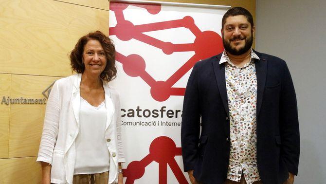 L'alcaldessa de Girona, Marta Madrenas, i el director de la Catosfera, Joan Camp, aquest 8 d'octubre del 2019 (Horitzontal)