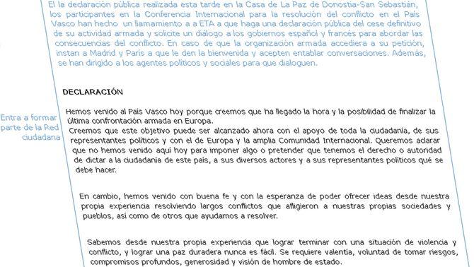 Detall de la declaració aprovada a Sant Sebastià (Foto: lokarri.org)