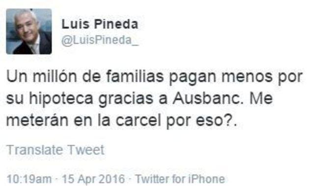 El secretari general d'Ausbanc, Luis Pineda, a Twitter fins minuts abans de la detenció