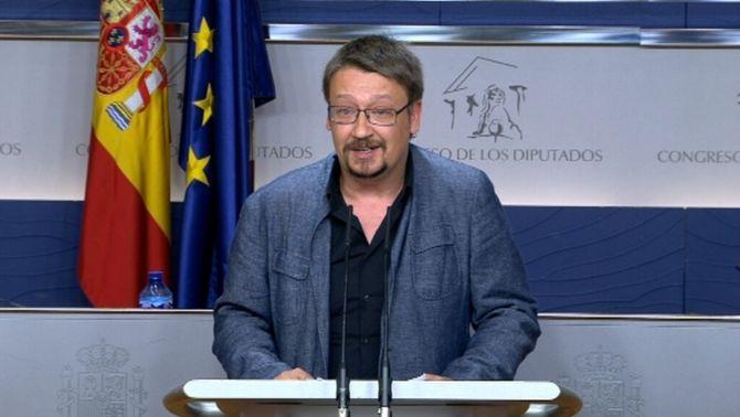 Xavier Domènech, en roda de premsa al Congrés després de la trobada amb Felip VI