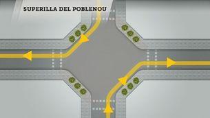 Es posa en marxa la primera superilla experimental al Poblenou de Barcelona