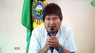 Evo Morales en el vídeo en què anuncia la renúncia a la presidència de Bolívia (Reuters)
