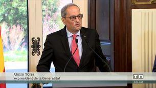 El Parlament homenatja l'expresident de la Generalitat Quim Torra un any després de la seva inhabilitació