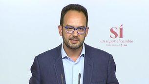 Antonio Hernando, aquest migdia, explicant la posició del PSOE l'endemà de les eleccions