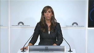 Alícia Sánchez-Camacho durant la seva intervenció davant la premsa