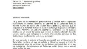 """Carta de Puigdemont a Rajoy: """"Ha arribat el moment de dialogar"""""""