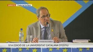 """""""Un alè d'esperança a Europa"""": la conferència del president Torra a la Universitat Catalana d'Estiu"""