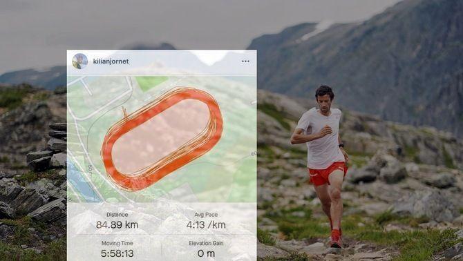 Dues maratons fent voltes a una pista... les coses de Kilian Jornet