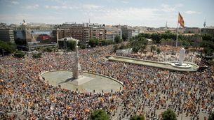 PP i Ciutadans eviten la foto amb Vox en la manifestació de Colón contra els indults