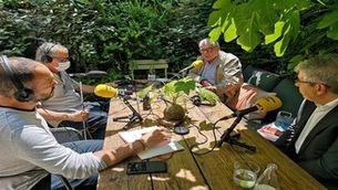 Ernest Maragall i Francesc Homs durant la conversa per Catalunya Ràdio