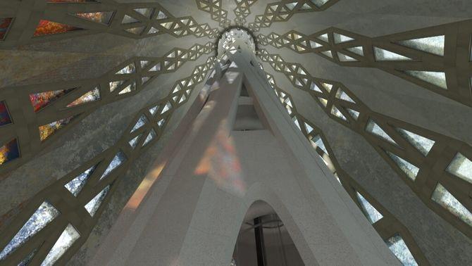 Simulació de l'interior de la torre del Crist quan estigui acabada