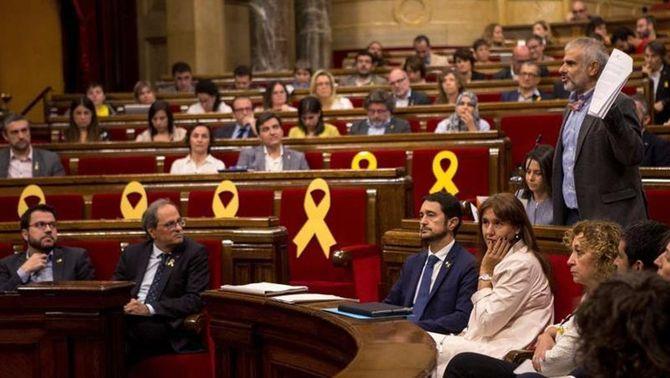 El portaveu parlamentari de Cs, Carlos Carrizosa, en un moment del ple del Parlament d'aquest dimarts (EFE)