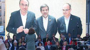 Rull, Sànchez i Turull participant per videoconferència en un míting de JxCat