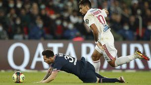 Messi, en una acció del partit contra l'Olympique