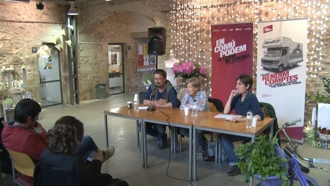 Xavier Domènech en un acte d'En Comú Podem