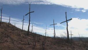 Un bomber de Sant Salvador de Guardiola fa dues-centes creus amb arbres cremats