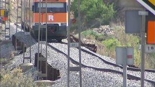 Un dels punts de limitació de velocitat temporal que hi ha a la xarxa ferroviària catalana