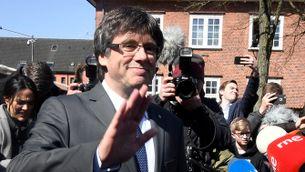 Carles Puigdemont a la sortida de la presó de Neumünster