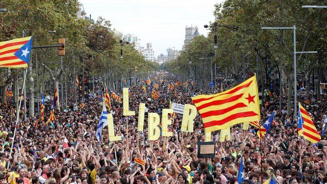 525.000 persones contra la sentència en la manifestació del 18-O a Barcelona