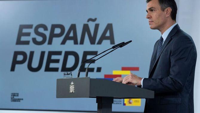 Pedro Sánchez anuncia el decret d'estat d'alarma aquest diumenge (EFE/Moncloa)