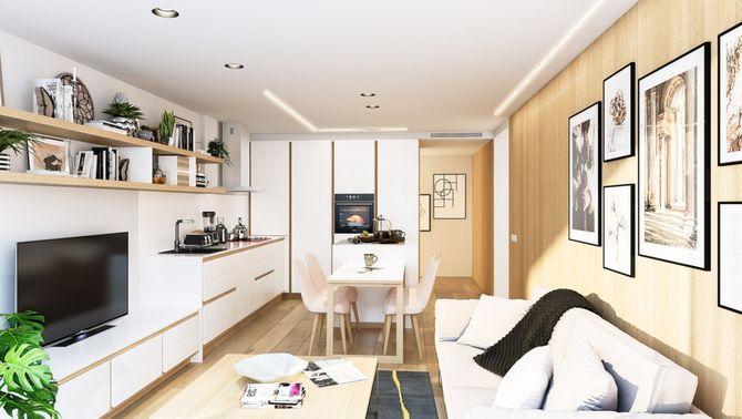 La sala d'estar menjador d'un dels models de pisos ideats per Dezain Architects, en una imatge cedida aquest 25 de novembre del 2020. (Hor…