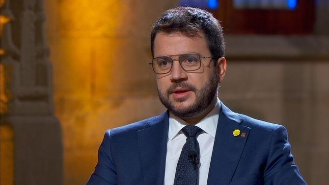 Pere Aragonès, en els moments previs a l'entrevista a TV3