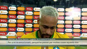 Neymar, s'emociona després de guanyar al Perú