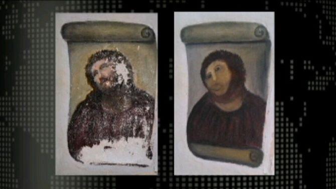 """El fresc abans i després de la seva """"restauració"""""""