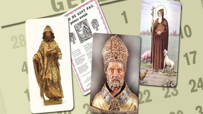 D'esquerra a dreta, sant Maur, els goigs de sant Pau, sant Vicenç i sant Antoni abat