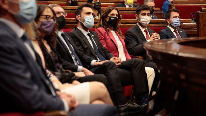 Diversos consellers del govern català, durant el debat de política general