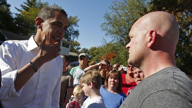 Wurzelbacher amb Obama, durant la campanya presidencial del 2008 (Foto: Reuters)