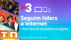 TV3, líder a internet a l'octubre per sisè mes consecutiu